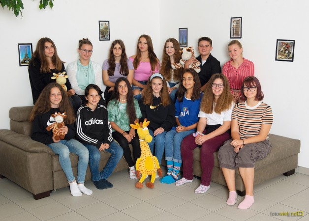 Gruppe mit Giraffen