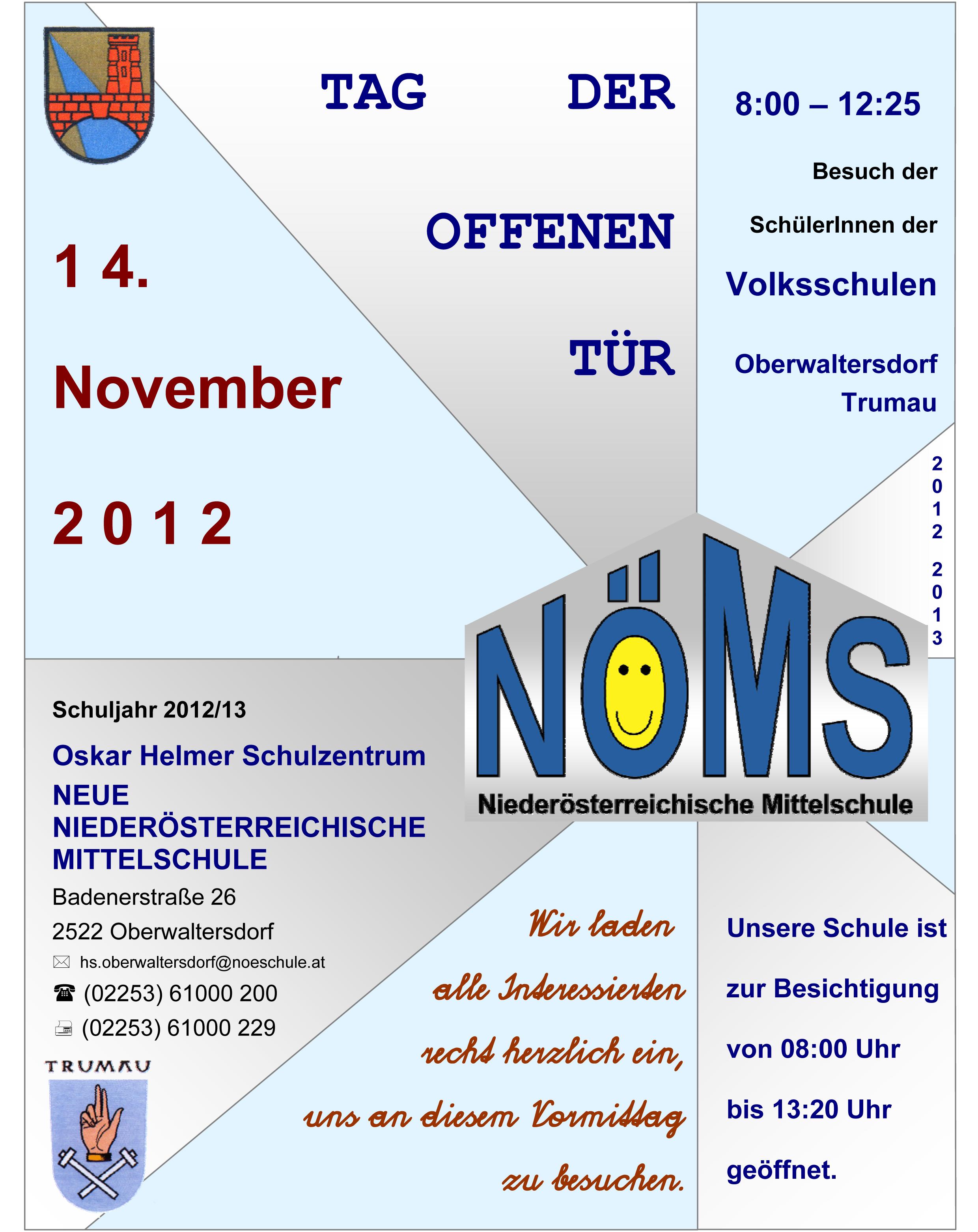 herzliche einladung zum tag der offenen tür an unserer schule, Einladung